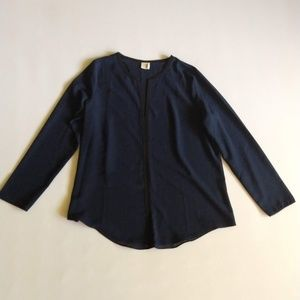 Paper Crane Navy and Black Long Sleeve Blouse L